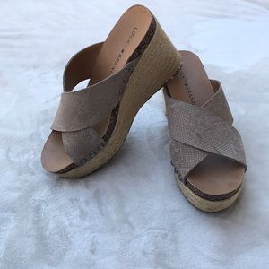 Lucky Brand Snakeskin printed wedge sandals 7